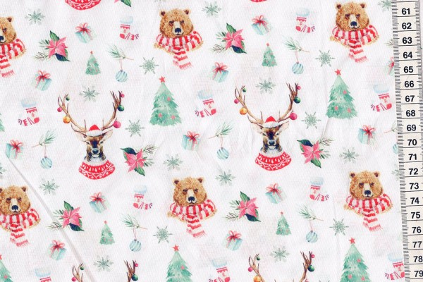Baumwolldruck Weihnachtstiere