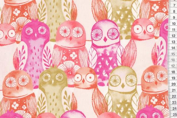 Firelight Wise Owls Fuchsia by Sarah Watts