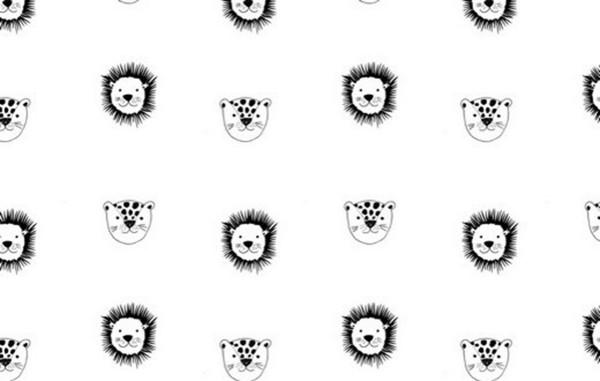Baumwolldruck Tierköpfe weiß