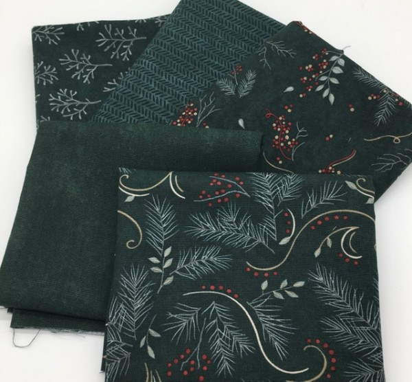 Fat Quarter Set Warm Winter WIshes Holly Taylor spruce green