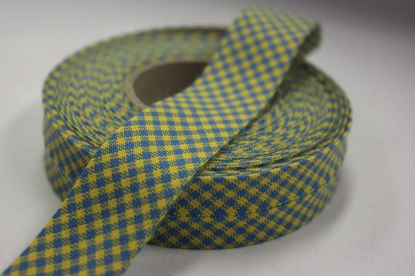 Schrägband Westfalenstoffe blau/gelb