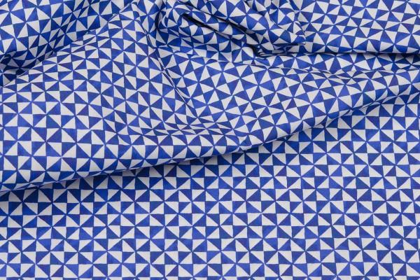 Baumwollpopeline Emilie Dreieck blau/weiß