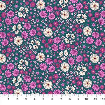 Primavera by Pippa Shaw Scattered Flowers teal multi