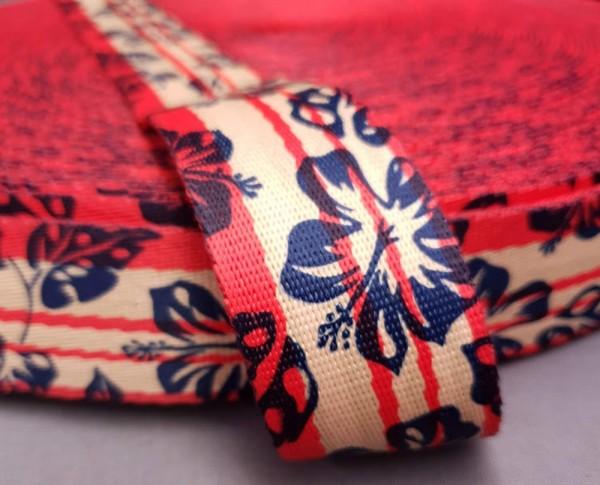 Gurtband bedruckt Hibiscus rot