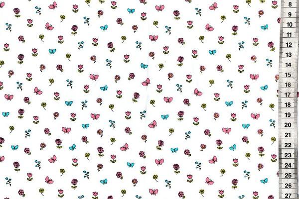 Baumwolldruck Streubblümchen auf weißem Hintergrund