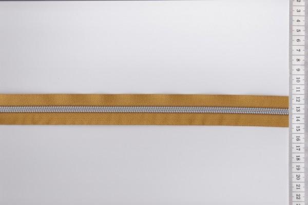 Reißverschluss metallisiert mustard breite Raupe