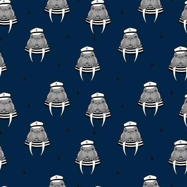 Sweat Captain Walrus Navy Peony