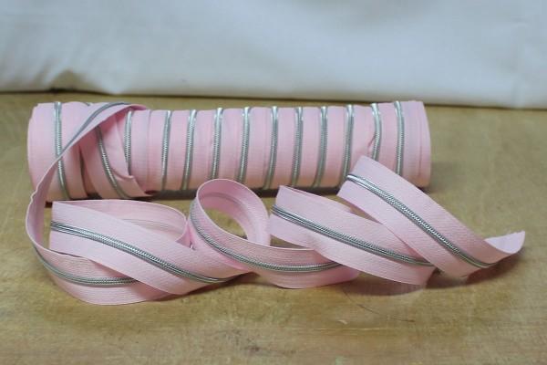 Reißverschluss metallisiert schmal rosa/silber