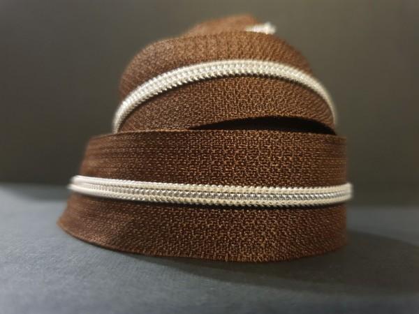 Reißverschluss metallisiert braun/silber schmale Raupe