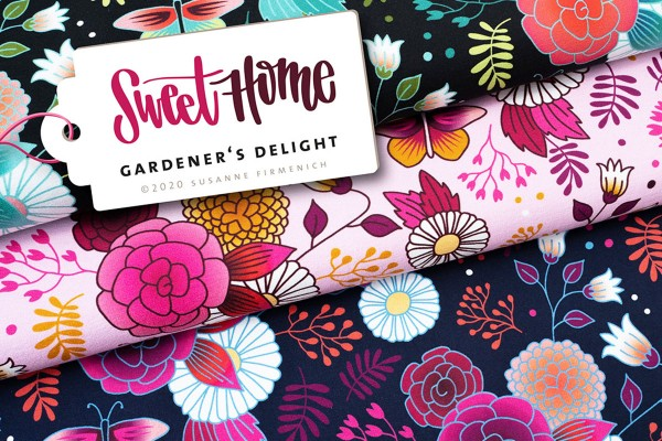 Sweet Home Sommer Sweat Digitaldruck Hamburger Liebe Gardeners Delight Col.2 rosa