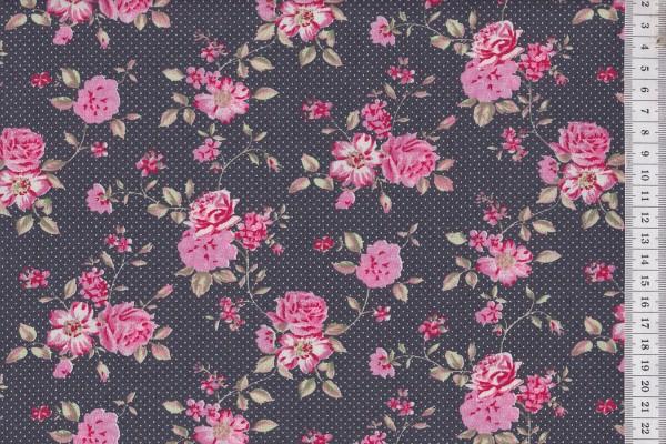 Westfalenstoffe Rosenborg Rosenblüte grau