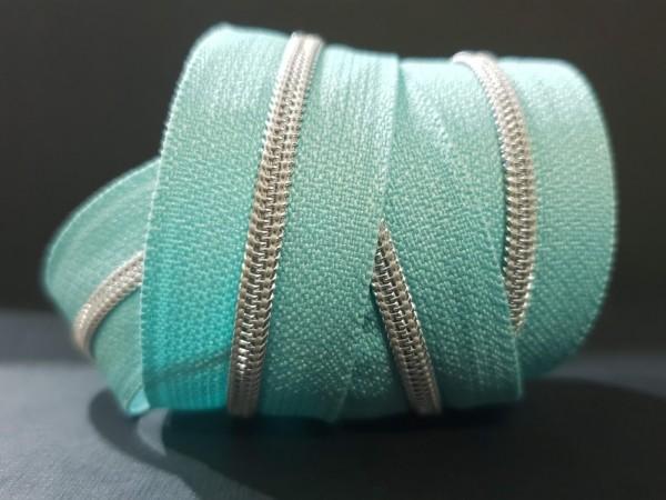 Reißverschluss metallisiert dusty mint/silber schmale Raupe