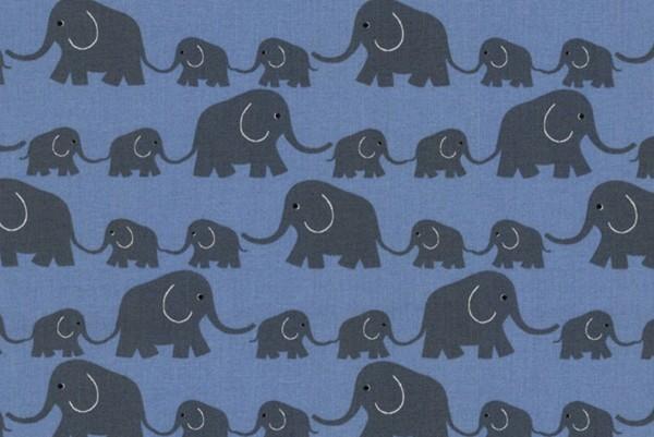 Westfalenstoff Junge Linie Elefantenparade blau