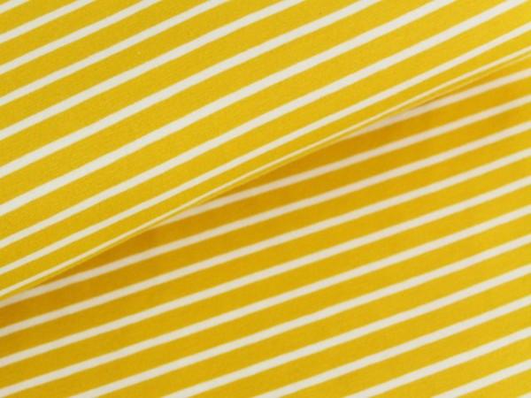 Bio Stretchjersey Streifen gelb/weiß