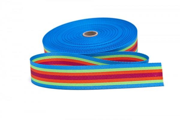 Gurtband bedruckt Streifen blau/limone/orange/rot