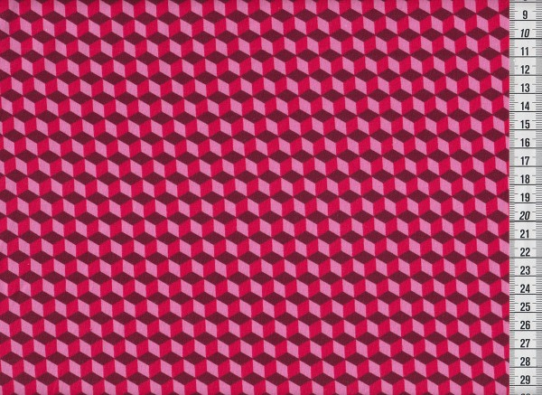 Stretchjersey Cubes pink