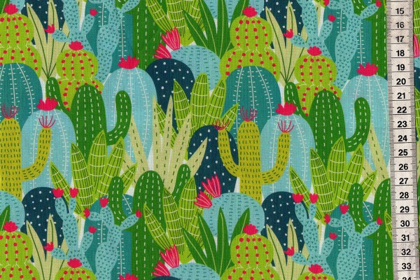 Deser Blooms Succulents aqua by Maude Ashbury