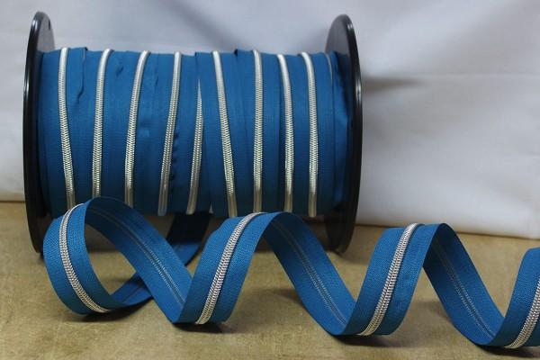 Reißverschluss metallisiert hortensie/silber