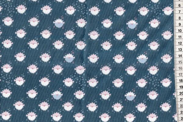 Baumwolldruck Kugelfisch marine
