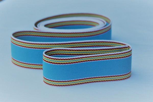 Gurtband Streifen hellblau/bunt