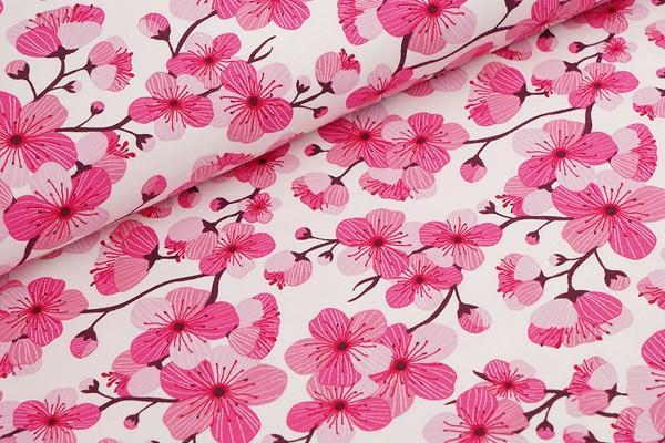 Biojersey Stoffonkel Kirschblüte weiß