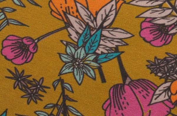 Blossom by brinarina Jersey Blüten groß senfgelb