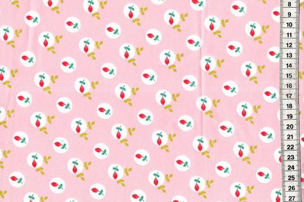 Baumwolldruck Blumen rosa