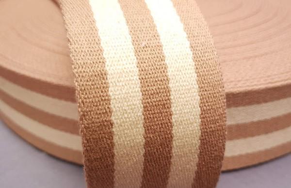 Gurtband 5 cm sand/wollweiß gestreift