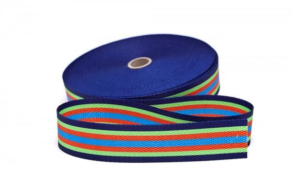 Gurtband bedruckt Streifen marine/limone/orange/türkis