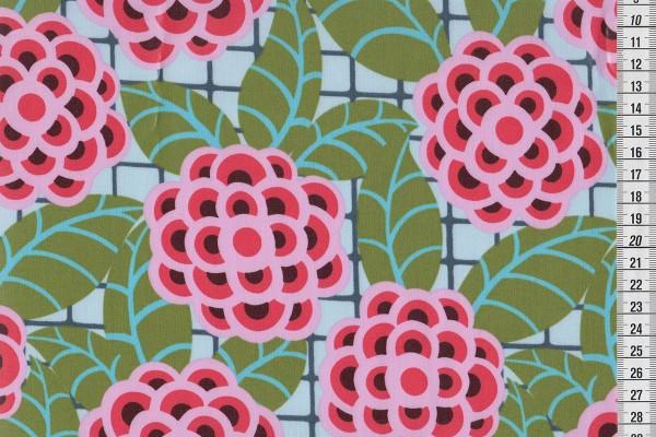 Laminated cotton Amy Butler Cameo Tea Rose silver