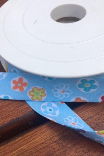Schrägband Blumen hellblau