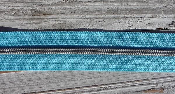 Reißverschluss metallisiert schmale Raupe himmelblau/silber