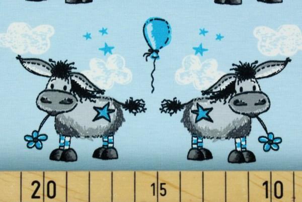 Bio Stretchjersey Donkey Lou hellblau