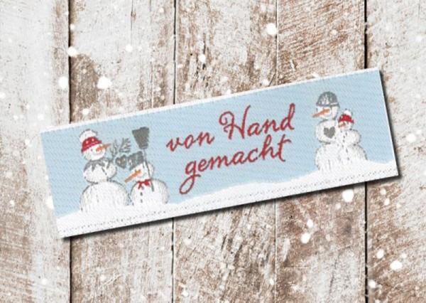 Webetikett Von Hand gemacht Schneemänner