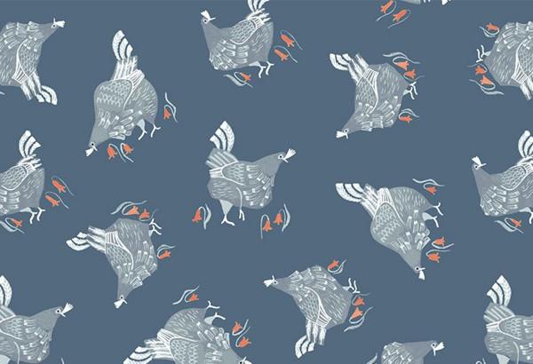 Rae Ritchie Poppy Prairie chickens teal
