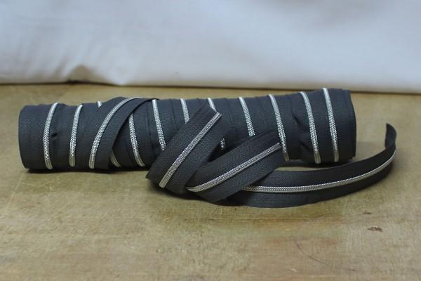 Reißverschluss metallisiert schmal dunkelgrau/silber