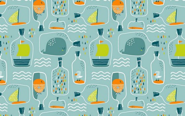 Baumwolldruck Flaschenpost mint