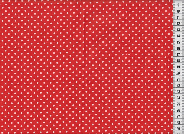 Baumwolldruck Punkte rot/weiß