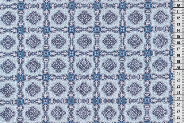 Baumwollpopeline Hilde Ornamente hellblau