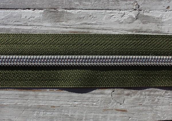 Reißverschluss metallisiert breite Raupe moosgrün