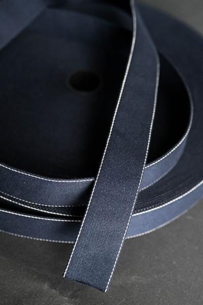 Gurtband Howell Navy marine mit feinem weißen Randstreifen