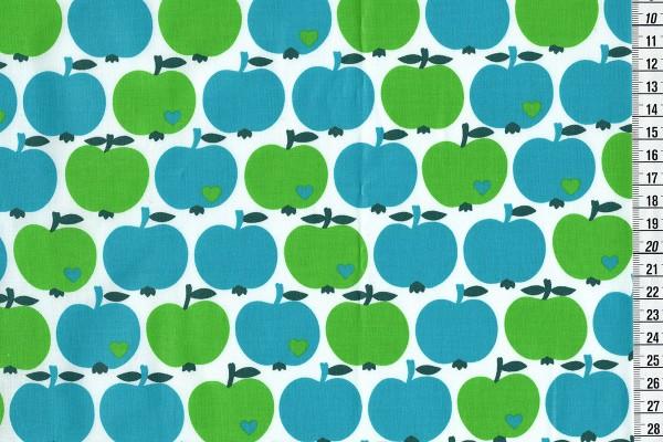 acrylbeschichtete Baumwolle Apfel klassik by Graziela grün-blau