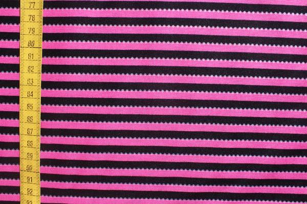 Baumwolldruck Streifen pink/schwarz