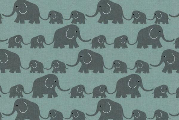 Westfalenstoff Junge Linie Elefantenparade grün
