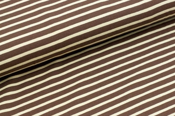Reststück Bio Stretchjersey Streifen braun
