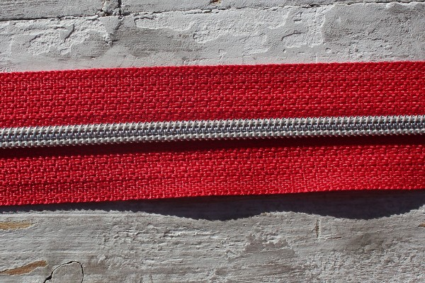 Reißverschluss metallisiert rot/silber schmale Raupe