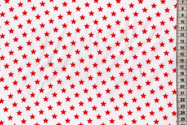 Baumwolldruck Sterne rot/weiß