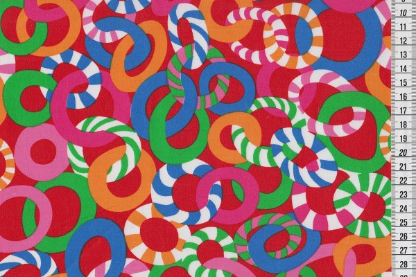 Laminated cotton Brandon Mably Red Jolly Circles