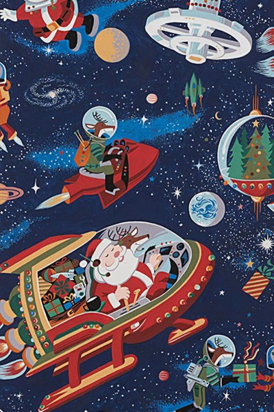 Alexander Henry - Christmas Time Santa in Space Dark Blue