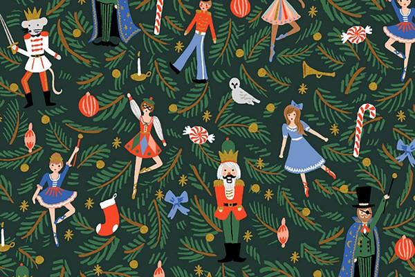 Cotton and Steel Rifle Paper Holiday Classics Nutcracker evergreen metallic